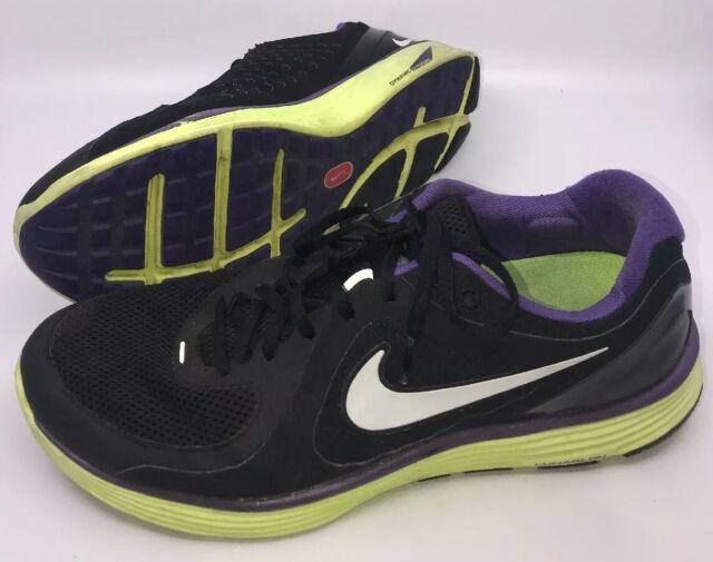 4180662f8e2457 Men's Tennis Shoes NIKE Lunarlon 13 BLACK neon yellow Purple UPC  00884497315935