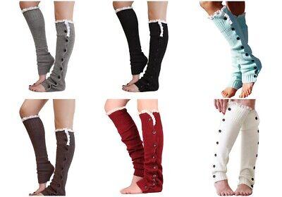 TX LOCAL Women Knit High Knee Leg Warmers Crochet Leggings Lace Boot Socks