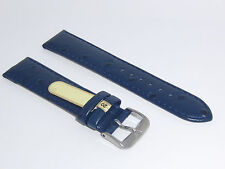"DI-Modell Genuine Calf Leather Ostrich Grain 20 mm NAVY Watch Band ""TIVOLI"""