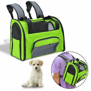 Pet-Carrier-Tote-Dog-Cat-Puppy-Bag-Backpack-Nylon-Mesh-Net-Comfort-Travel-Green