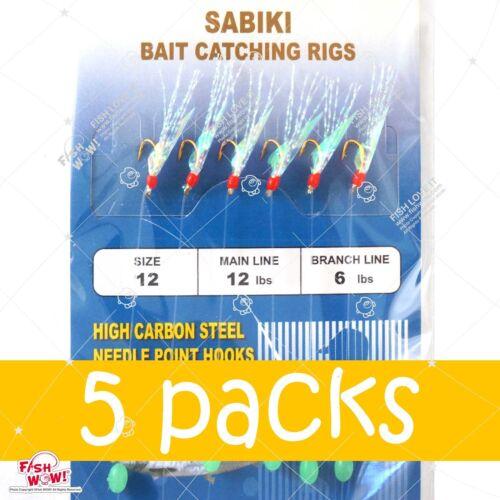 5pks Size 12 Piscatore Sabiki Gold 6-hook Mylar Fish Skin Lure Red Head Rigs @US