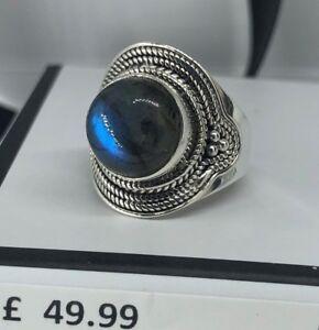 Stunning-Labradorite-925-Sterling-Silver-Gemstone-Big-Ring-RRP-49-99-Boxed