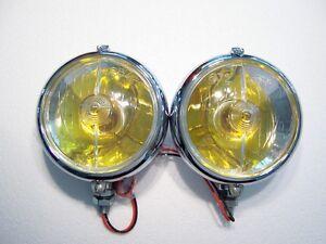 MARCHAL-672-682-FOG-LIGHTS-2-NEW-AMBER-BULBS-12-volt