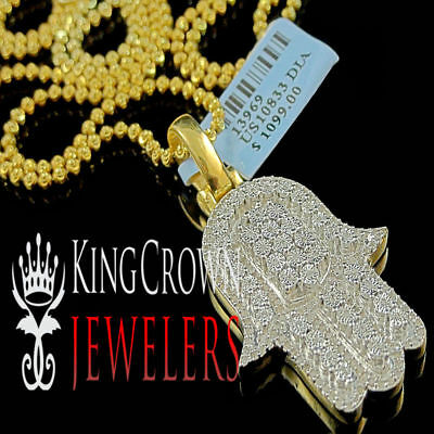 Men/'s Yellow Gold Finish Lab Diamond Iced Plug Pendant Charm Over Brass 1.75/""