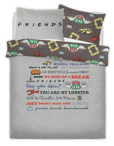 WARNER-BROTHERS-FRIENDS-SLOGAN-Polycotton-Duvet-Cover-Set-with-Pillowcases