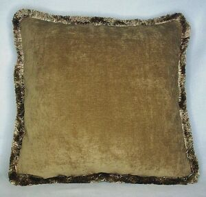 Large Solid Gold Velvet Throw Pillow With Fringe For Sofa