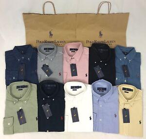 Polo-Ralph-Lauren-Original-Popelin-Calce-Ajustado-Mangas-Largas-Camisa-Oxford-Denim-BNWT