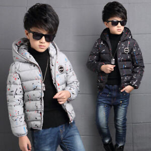 4-14Y-Kids-Boys-Cotton-Quilted-Padded-Jacket-Puffer-Coat-Hooded-Parka-snowsuits