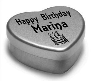 Happy Birthday Marina Mini Heart Tin Gift Present For Marina With