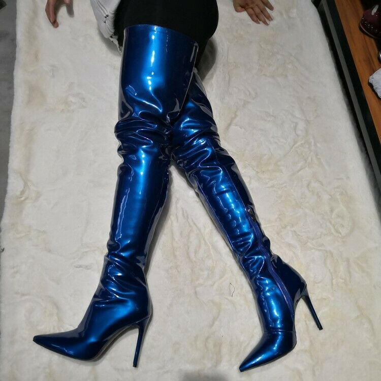 Women's Patent Leather Sexy Over Knee High Thigh Boots 12cm High Stilettos shoes