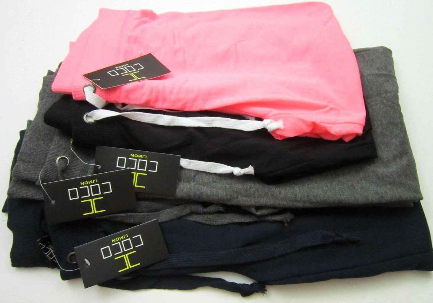 New Coco Limon women's 2 capris & 2 long joggers 4 pk multi color pants size lrg