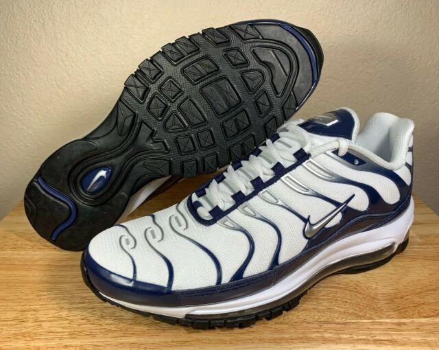 Nike Air Max 97 Plus Mens Running Shoes White Silver Navy SZ New AH8144 100