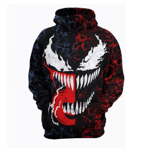 Venom Spiderman Hood Uomo Donna Felpe con cappuccio Grafica Pullover maglione bn