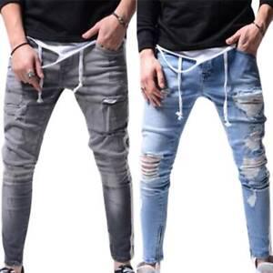 Para Hombres Moda Pantalones Jeans Pantalones Slim Denim Rasgado De Bolsillo Pantalones Informales Estrechos Ebay