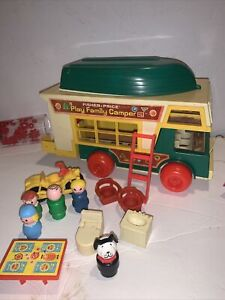 Fisher Price Play Family Camper 994 Little People Ladder Motorcycle Sink Toilet