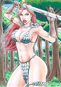 RED SONJA BY TIAGO FERNANDES-ART PINUP Drawing Original COMIC