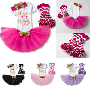 ed6085f339327 Details about First 1st Birthday Outfits Baby Girl Gold Bow Tutu Dress  Infant Clothing Sets