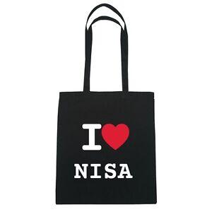 I love NISA - Jutebeutel Tasche Beutel Hipster Bag - Farbe: schwarz