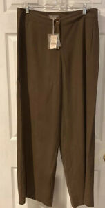 TOMMY-BAHAMA-Fly-To-Fiji-Pant-Dress-100-Silk-Cafe-Brown-Sz10-Wide-Leg-12-NEW