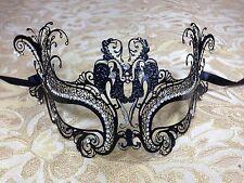 Black Angel Laser Cut Metal Venetian Masquerade Mardi Gras Mask w/ Rhinestones