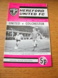 17021973 Hereford United v Colchester United 1st League Season  No obvious - <span itemprop=availableAtOrFrom>Birmingham, United Kingdom</span> - Returns accepted within 30 days after the item is delivered, if goods not as described. Buyer assumes responibilty for return proof of postage and costs. Most purchases from business s - Birmingham, United Kingdom