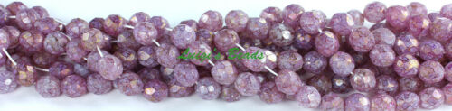 25 Luster-Stone Pink Czech Firepolish Faceted Round Glass Beads 8mm