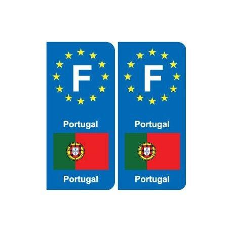 F Europe Portugal autocollant plaque -  Angles : arrondis