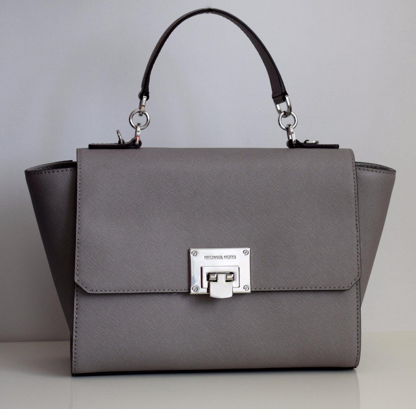 Женская сумка MICHAEL KORS Damen Tasche TINA pearl grey Leder MD TH SATCHEL