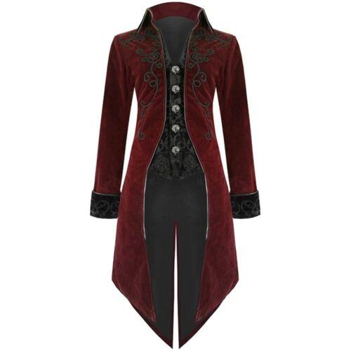 Retro Men/'s Jacket Goth Steampunk Uniform Costume Praty Outwear Long Coat Fit UK