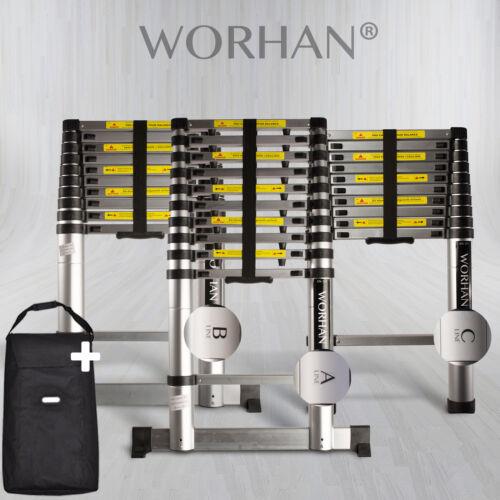 WORHAN® Echelle 3.2m Télescopique PRO Aluminium Anodisé Solide Extensible 320cm