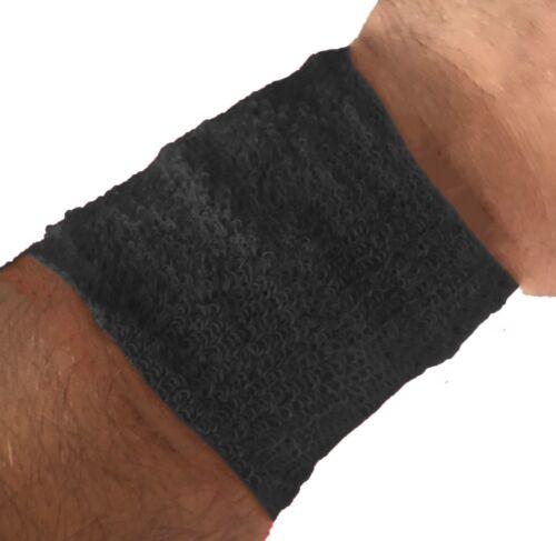 Schweißband sport sueur Bandes Bracelet Tennis Bracelet Gym Noir 2er Set