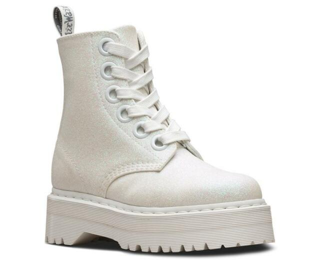kid to buy quality Dr Martens 6 Hole Molly White Glitter 24860123 Original Classic Doc