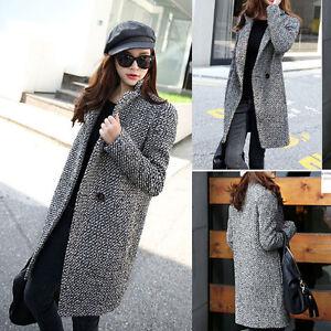 Winter Women's Houndstooth Parka Overcoat Trench Coat Medium Long Warm Jacket