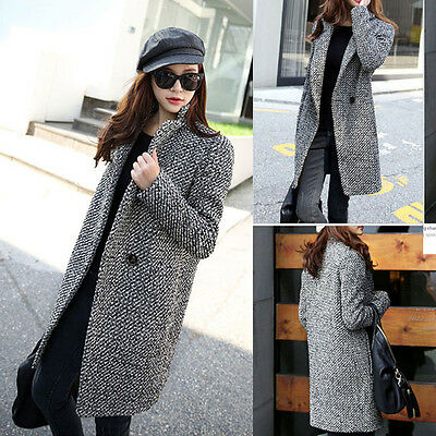 New Women Lady Warm Wool Cashmere Long Winter Parka Coat Trench Jacket Overcoat