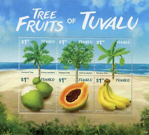 Tuvalu-2015-MNH-Tree-Fruits-Coconut-Papaya-Bananas-6v-M-S-Trees-Nature-Stamps