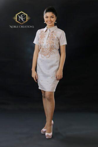 Filipiniana Embroidered Barong Linen Dress Philippines Terno Maria Clara Mocha