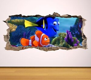 FINDING-NEMO-DORY-FISH-HOLE-IN-WALL-SMASH-3D-WALL-ART-DECAL-sticker-boys-GIRLS