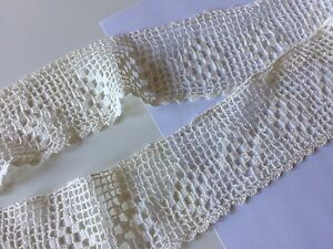 Antique-Sewing-Lace-Crochet-Flounce-Filet-Edging-Wide-Trim-Primitive-Prim-Early