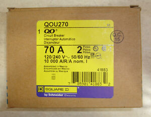 New Square D QOU270 Feed Thur Circuit Breaker 70 Amp Same Day Shipping