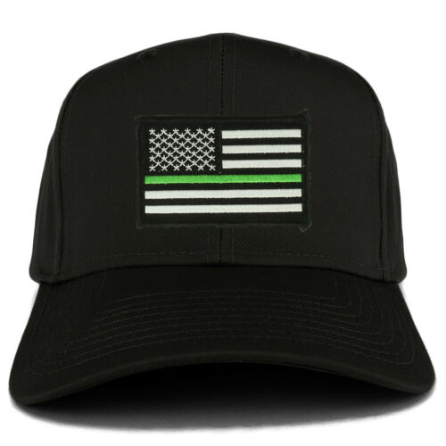 Thin Green Line USA American Flag Logo Embroidered Iron On Patch Snap Back Cap