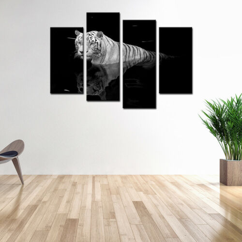 Animal Canvas Art Print Tiger Painting Poster Wall Art for Home Room Decor-4pcs
