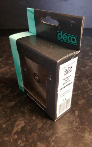 VPSC065BK Black Insert 5x Click Deco Single TV Coax Socket Satin Chrome