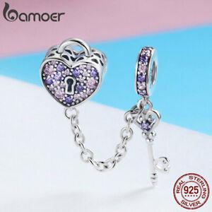 European-Women-Charm-S925-Sterling-silver-CZ-Key-Heart-Fit-DIY-Bracelet-Jewelry