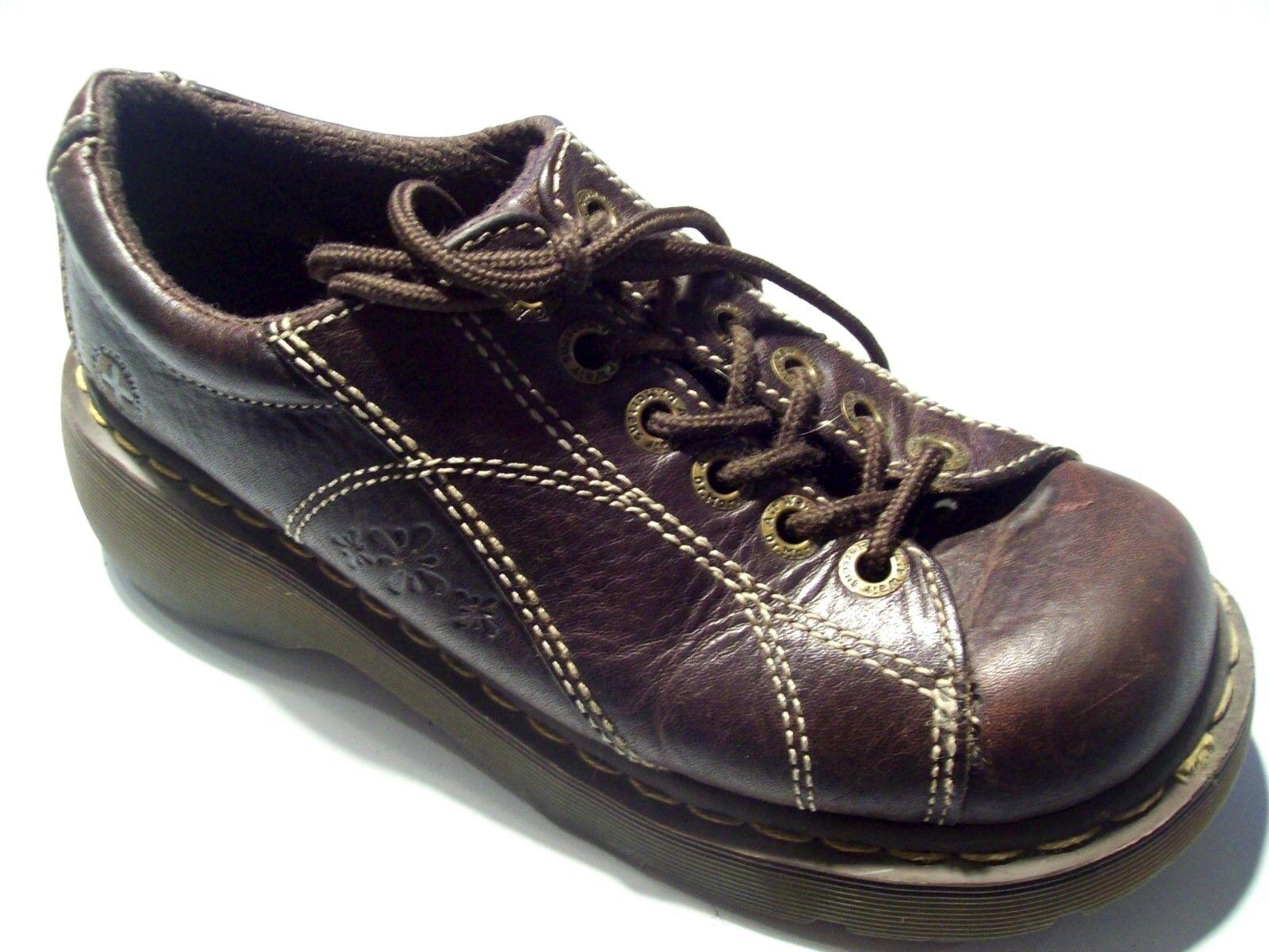 Dr. Marten 12283 Brown Leather Oxfords Platform Flowers Loafers Shoes Size 8