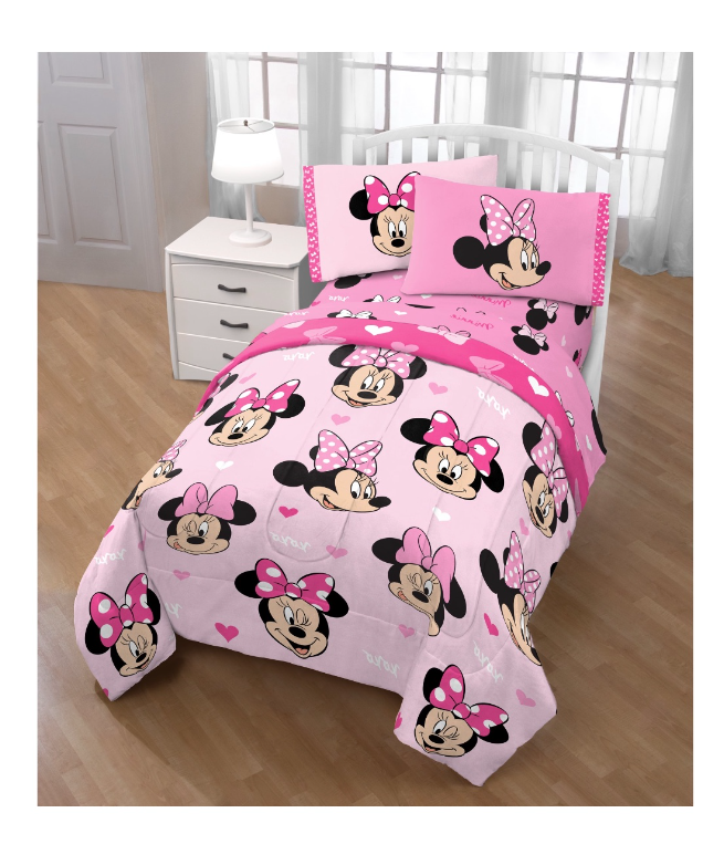 Pink Girl S Twin Size Comforter Set Disney Minnie Mouse Hearts Bed In A Bag For Sale Online Ebay