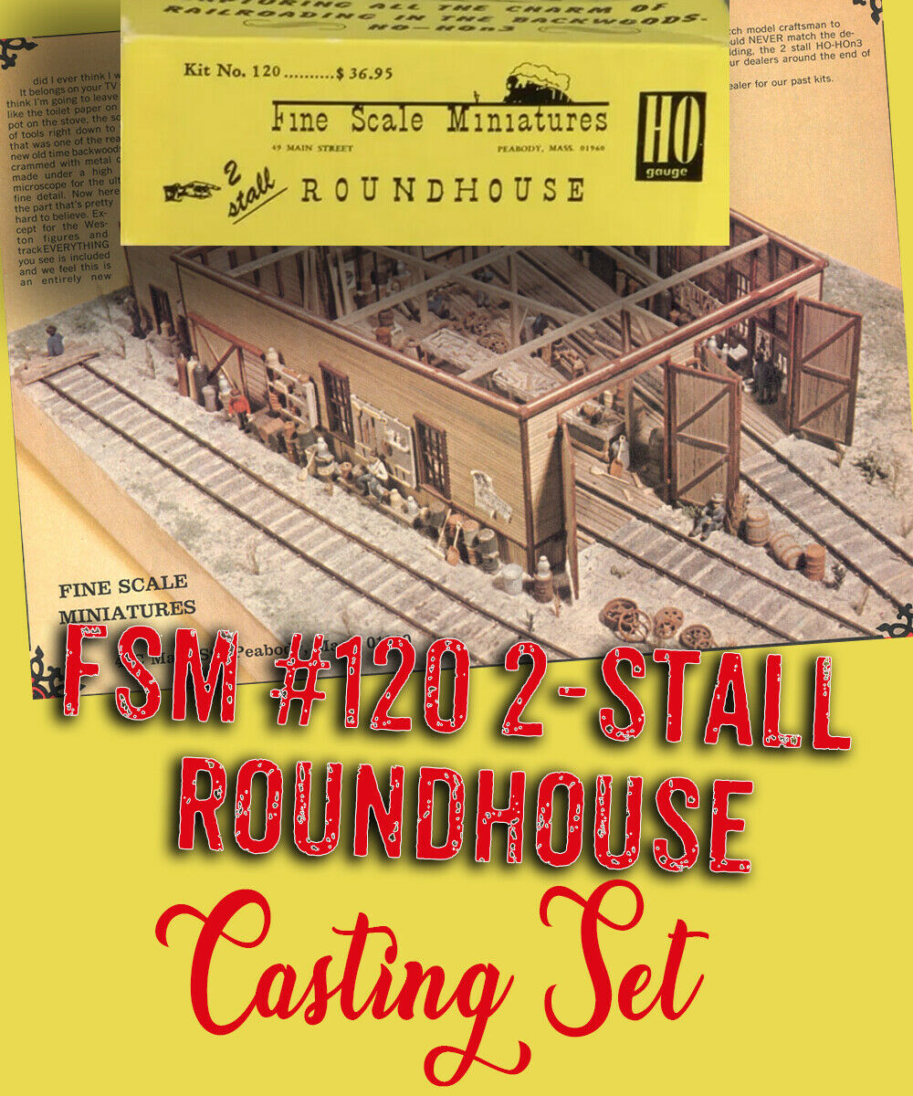 2-Stall Roundhouse Kit FSM DETAIL CASTINGS SET Fine Scale Miniatures NEW