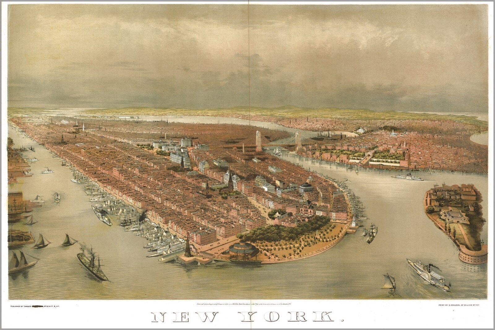 Poster, Molte Misure; Mappa Del New York City 1874