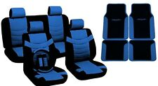 Two Tone PU Synth Leather Seat Covers Steering Wheel Blue/Black Trim Mats CS
