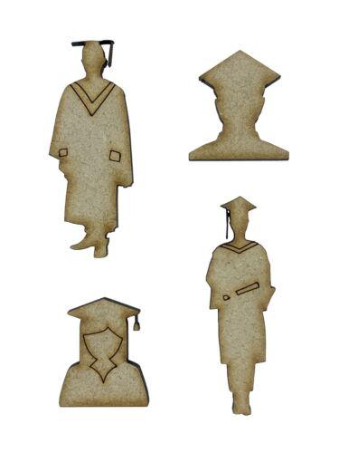 12x Graduation University Gown Hat 3cm Wood Craft Embelishments Laser Cut Shape