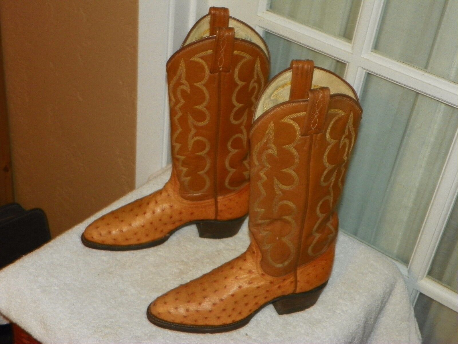 Tony Lama El Rey Full  Quill Quill Quill Ostrich Skin Cowgirl Boots Women's size 5 A narrow 7d73cb